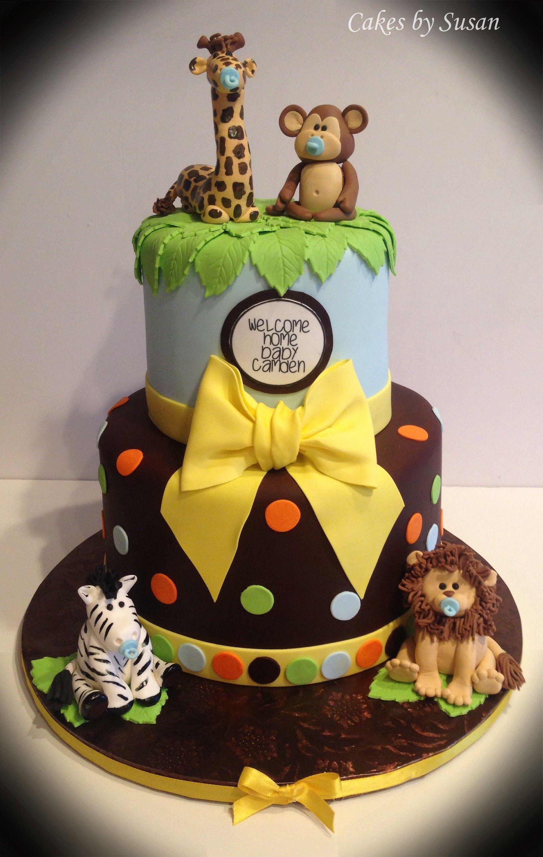 Jungle animals baby shower cake Baby Shower Cakes Pinterest