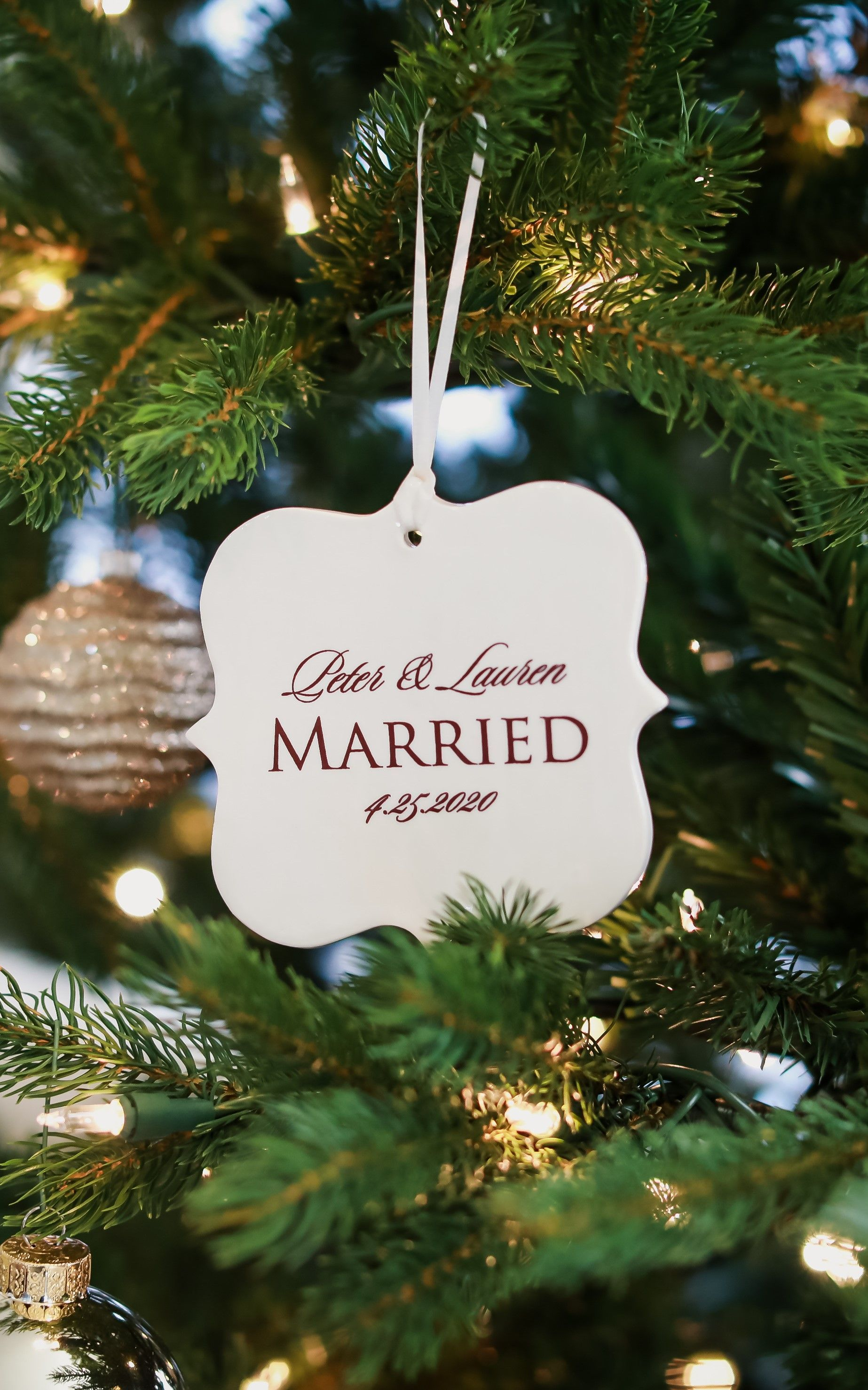 Just Married Ornament Our First Christmas Wedding Ornament Newlywed Ornament Christmas Gift Personalized Christmas Ornaments Wedding Ornament Personalized Wedding Gifts