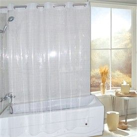 Super Clear EVA Non Toxic Vinyl EZ ON HOOKLESSR Shower Curtain Or Liner