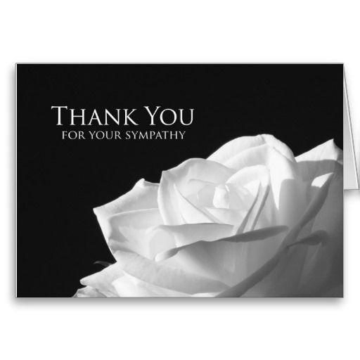 Sympathy Memorial Thank You Note Card  Rose  Card Templates