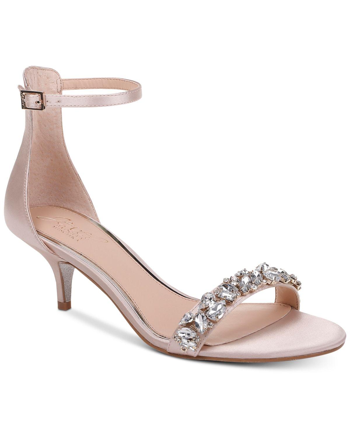 Jewel Badgley Mischka Dash Kitten Heel Evening Sandals Reviews Heels Pumps Shoes Macy S In 2020 Bridal Shoes Low Heel Kitten Heels Kitten Heels Wedding