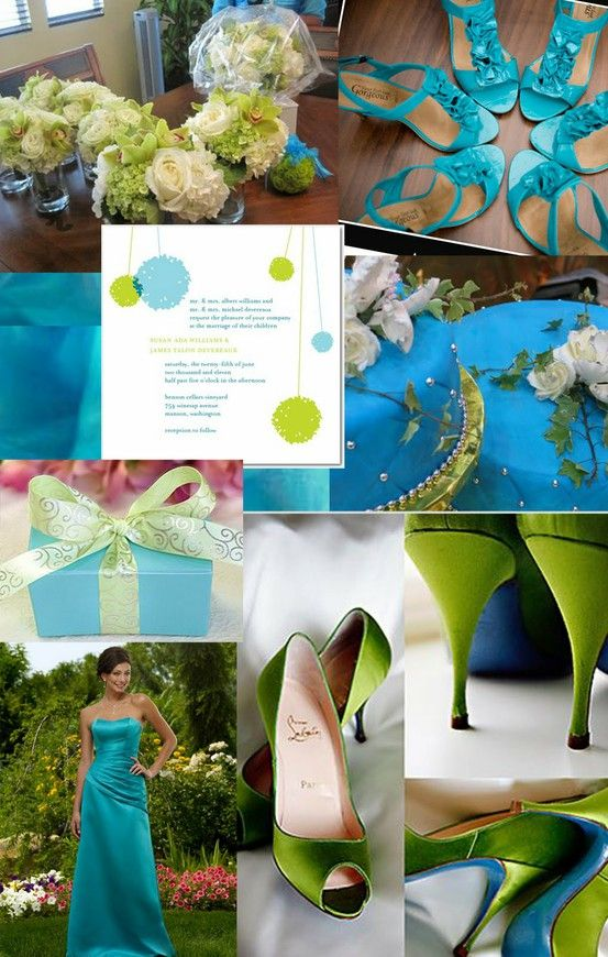 Wedding color pallet palette ocean blue lime green fun beach | Color ...