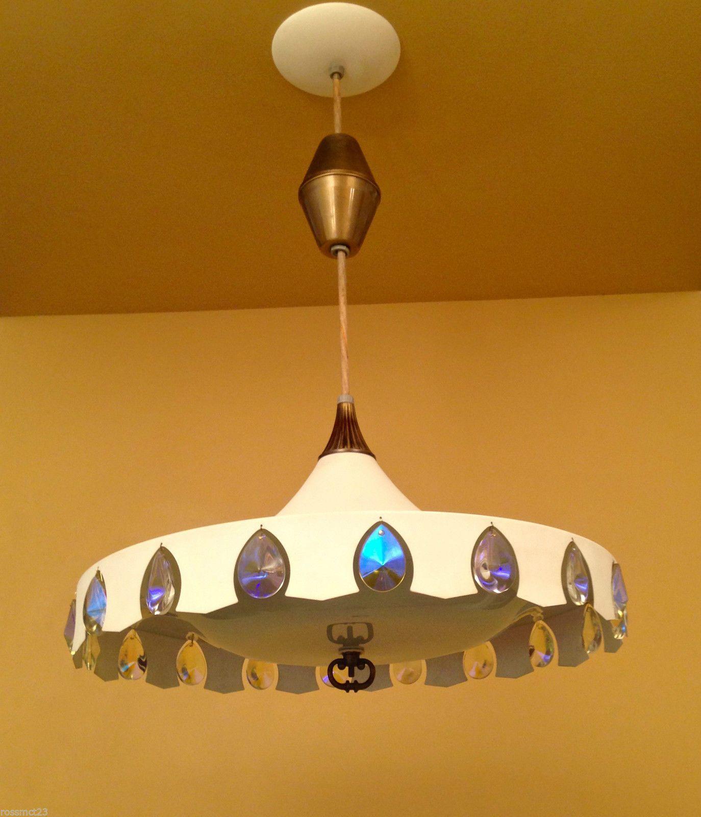 Vintage Lighting Rare 1965 Pull Down Crystal Pendant By Moe Ebay Vintage Lighting Antique Lighting Mid Century Lamp