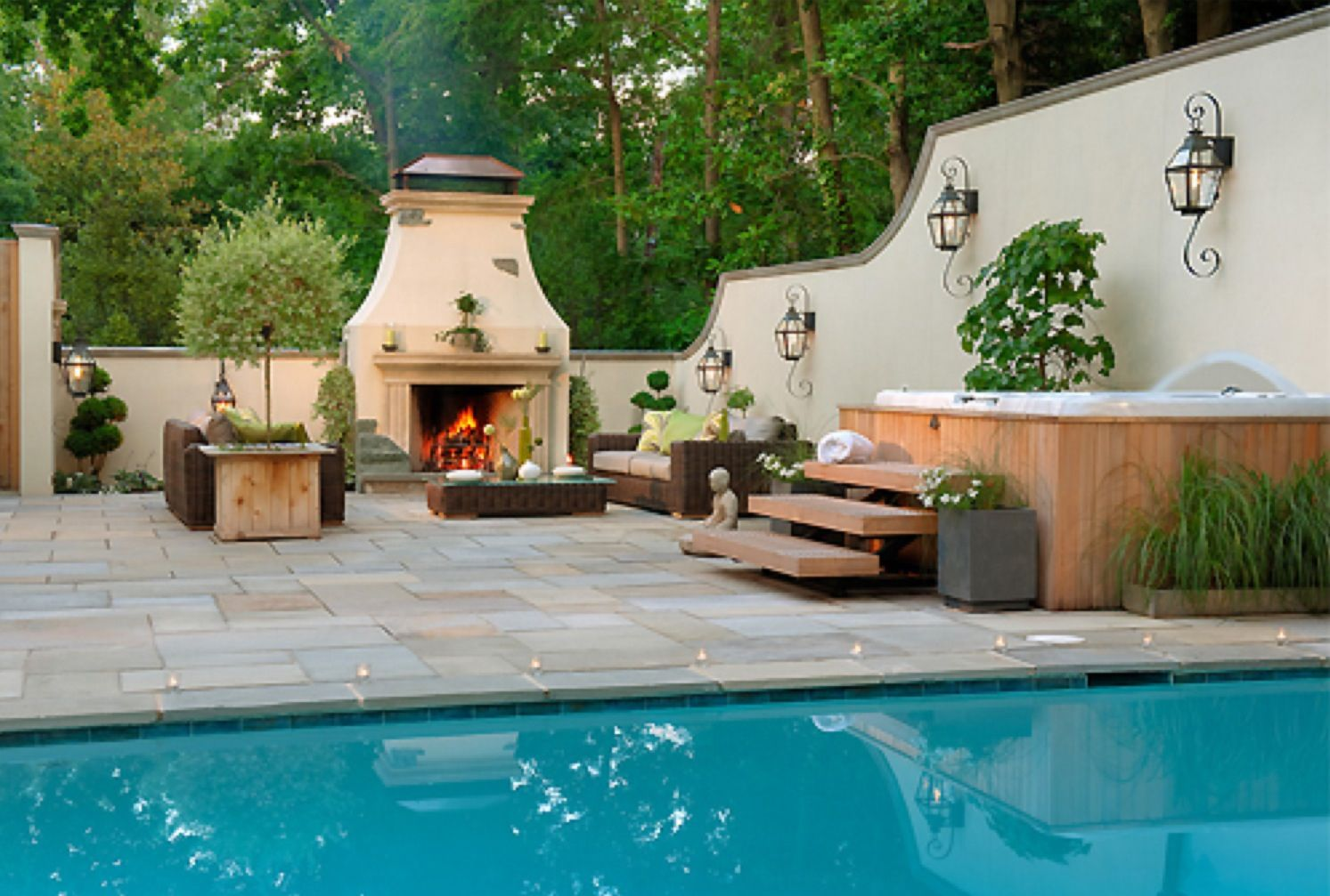great entertaining area pool barbecue outside fireplace