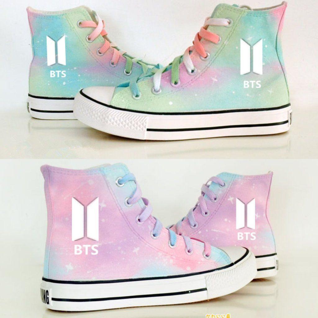 7741d725950 Mint Green Pink Harajuku Galaxy BTS Canvas Shoes K12644 Harry Potter Oc