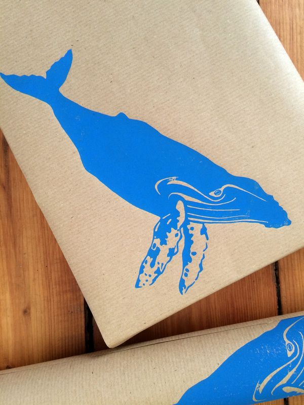 Linocut Whale Wrapping Paper: block print gift wrap by Fold & Press Print Studio #humpback whale #wrapping #paper giftwrap #irish #wildlife