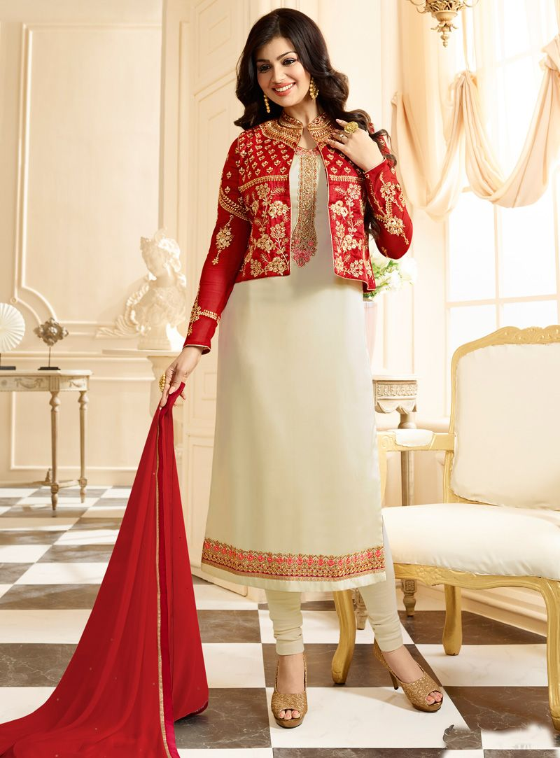4cd0cfbd3da8 Ayesha Takia Off White Georgette Jacket Style Churidar Salwar Suit 106424