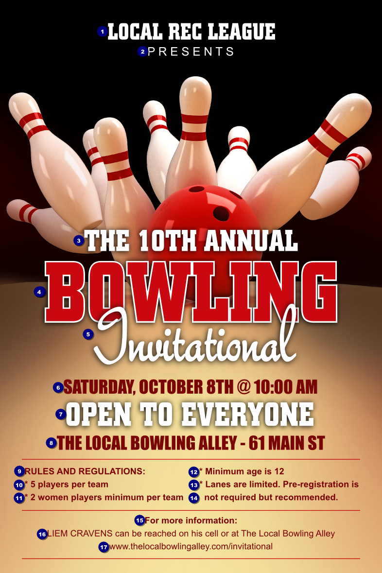 Bowling League Poster Bowling, Fundraising, Flyer template