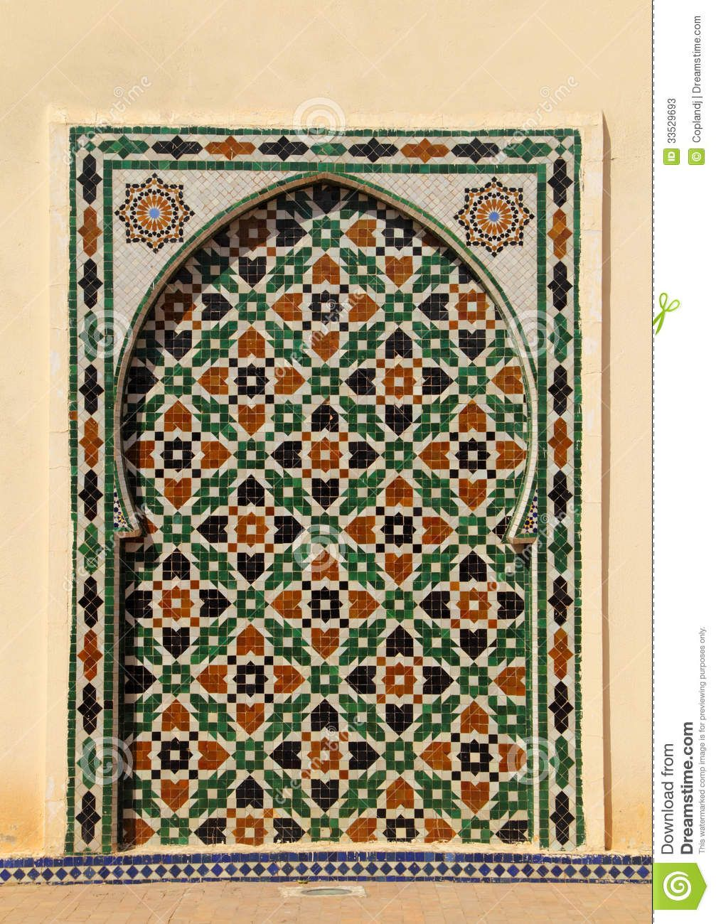 Morocco meknes islamic wall panel arabesque decorated intricate morocco meknes islamic wall panel arabesque decorated intricate ceramic tiles form arch 33529693g 10071300 moroccan architecture pinterest dailygadgetfo Choice Image