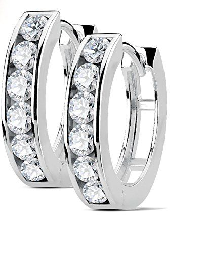 Women 18K Gold Plated Four Rows White Cubic Zircon Hoop Huggie Earrings Jewelry