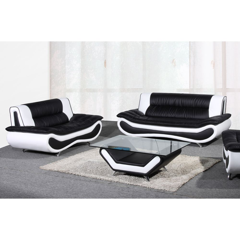 Christina Two-tone Bonded Leather Sofa Set - Christina Two-tone Bonded Leather Sofa Set Leather Sofas