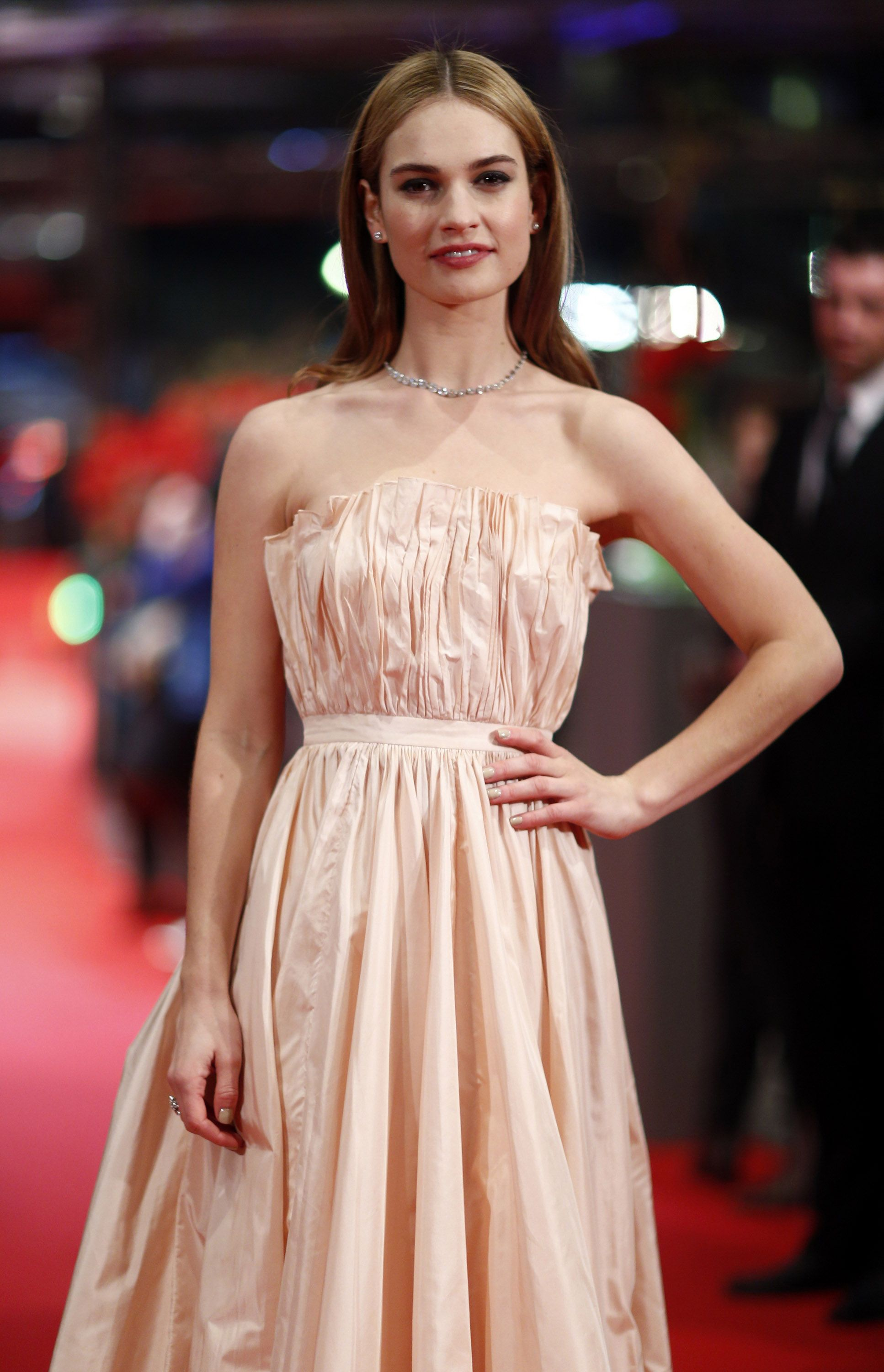 Lily James at the 'Cinderella' premiere at the 65th Berlin