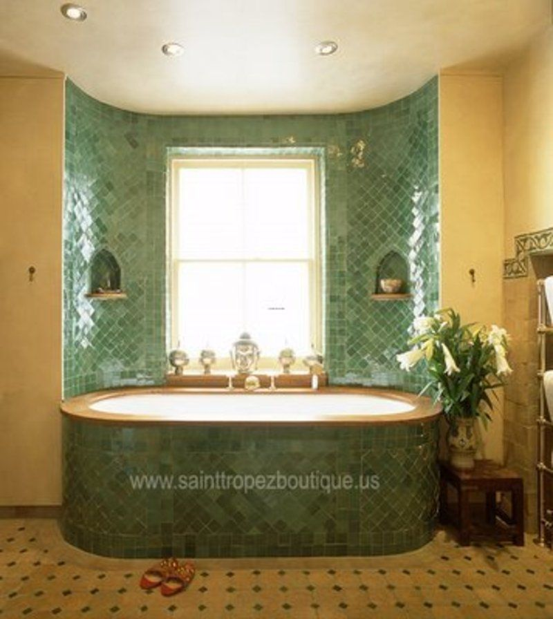 bathroom tub tile ideas | Tile Bathtub Ideas, Moroccan Decorating ...