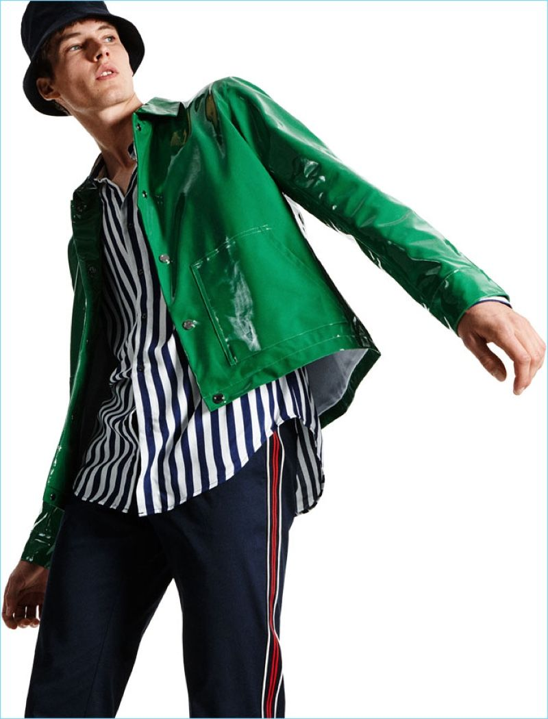 8c2fbbba Ready to turn heads, Frederik Ruegger wears a shiny green jacket from Zara  Man. It's paired with a Zara striped shirt, trousers with a side stripe, ...