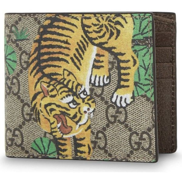 32a90b51f110 Gucci Tiger GG Supreme canvas billfold wallet (£180) ❤ liked on Polyvore  featuring men's fashion, men's bags, men's wallets, mens canvas wallet and  gucci ...