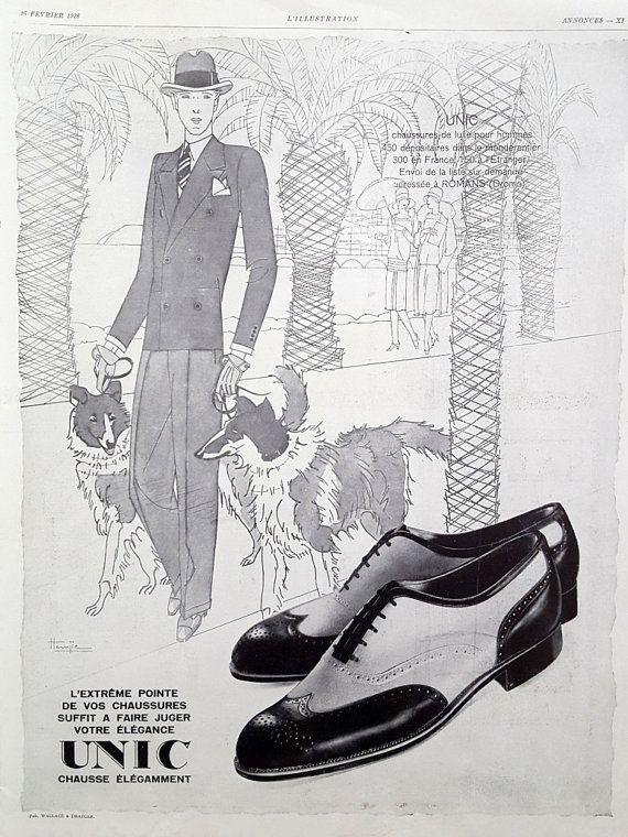 Men fashion ad unic shoes vintage poster 1928 french fashion