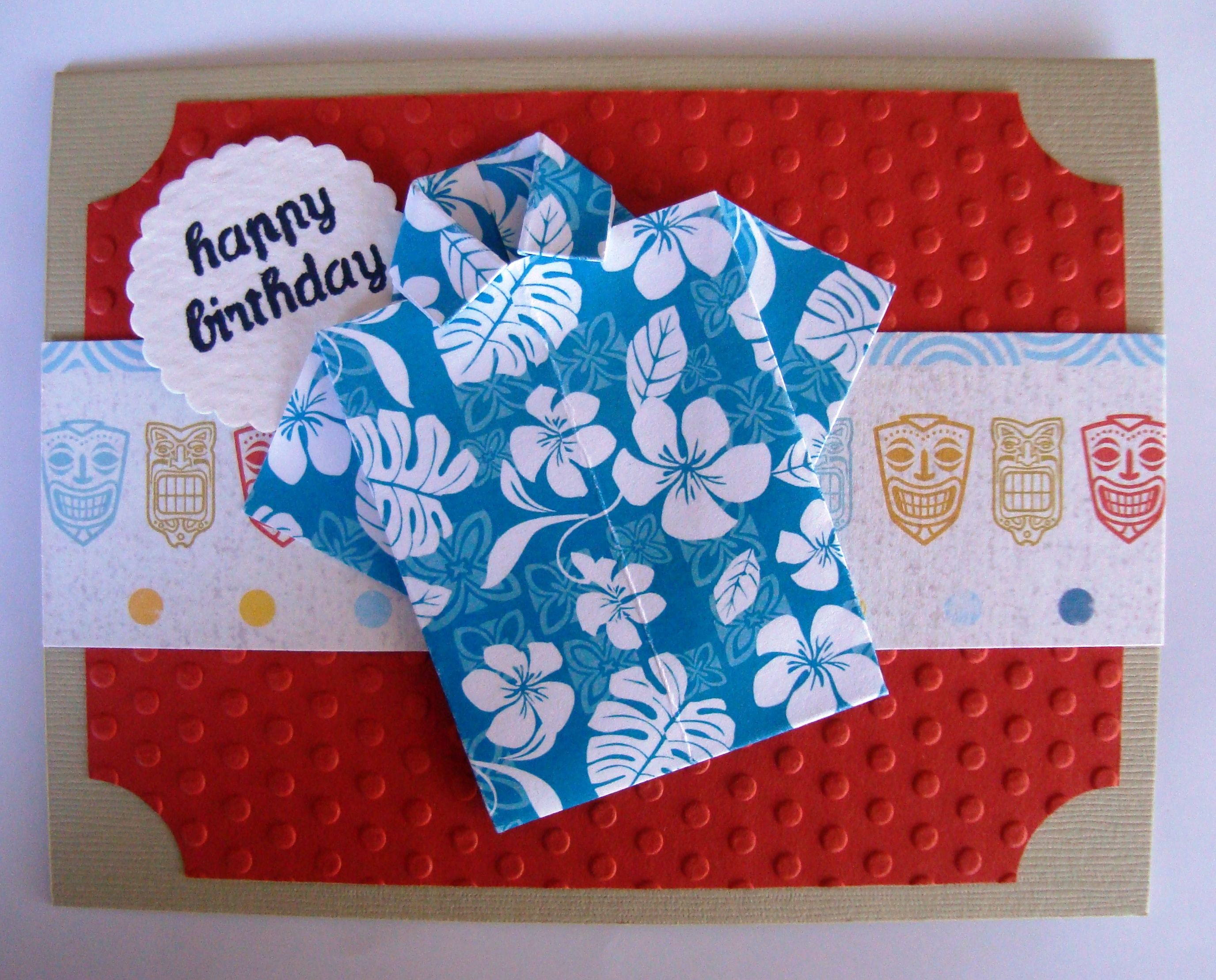 Origami Hawaiian shirt birthday card Shirt paper from Island