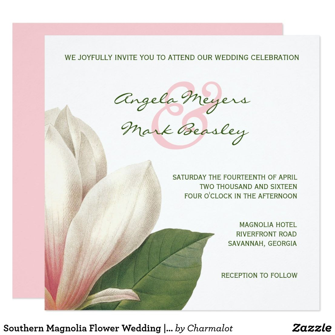 Southern Magnolia Flower Wedding Pink And White Invitation Vintage Southern Magnolia Tree Flowe Magnolia Wedding Invitations Magnolia Wedding Magnolia Flower