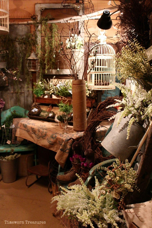 Garden vignette - Spring & summer decorating Timeworn Treasures ...