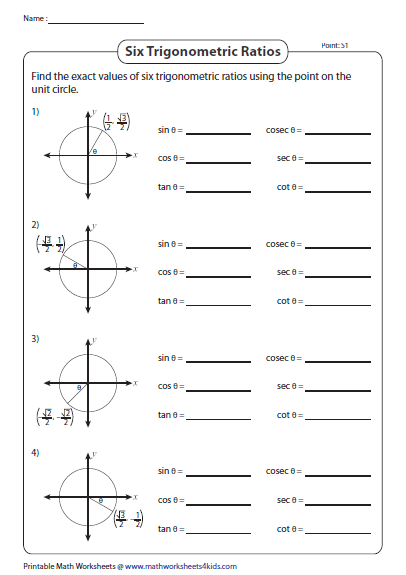 Find The Exact Value Of Each Trigonometric Function