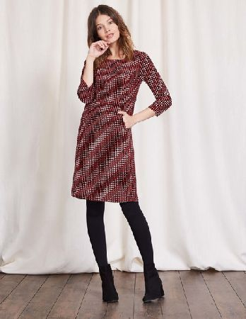 Boden Hannah Seam Detail Dress Red Shadow Spot Women This Easy Cord