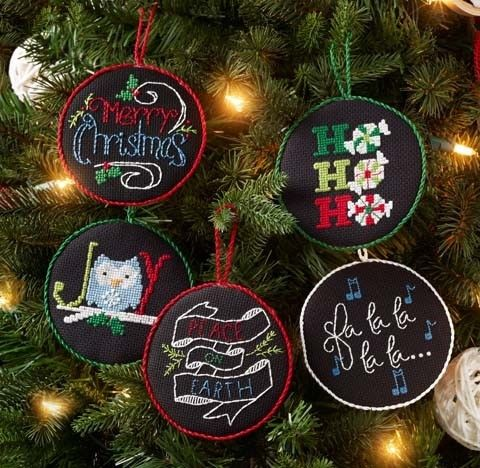 Holly Jolly Ornaments Counted Cross Stitch Kit