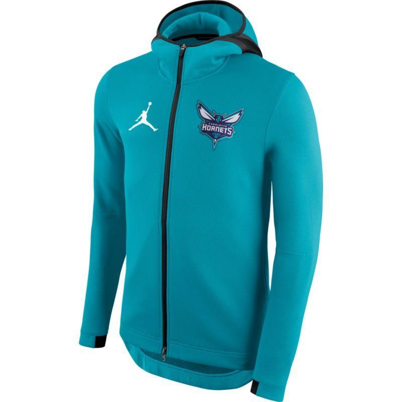 60c4425371b8cf Jordan Men's Charlotte Hornets On-Court Teal (Blue) Therma Flex Showtime  Full-Zip Hoodie