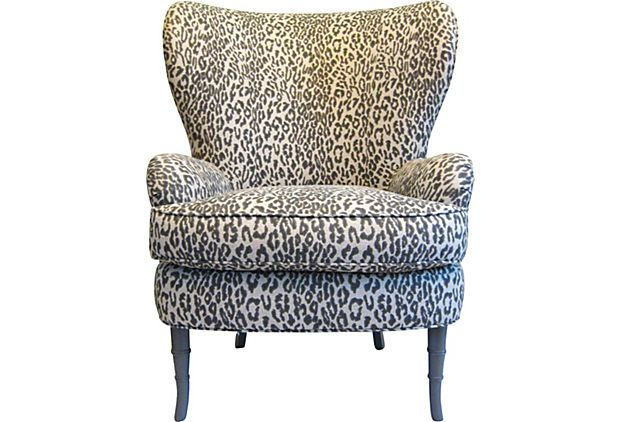 Wingback Leopard Lounge Chair Chair Wicker Chair