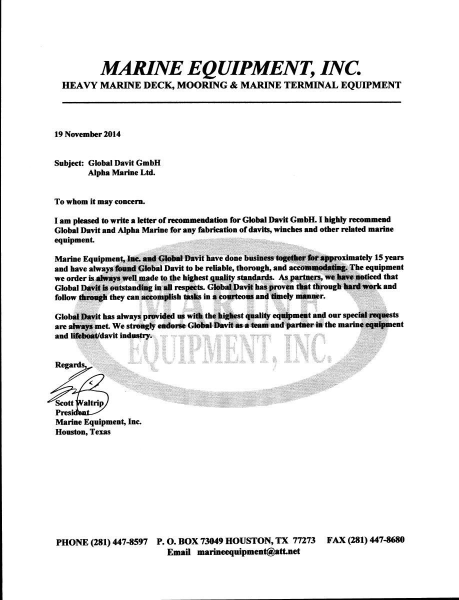 Reference Letters For AlphaMarine Gmbh From Marine Equipment Inc