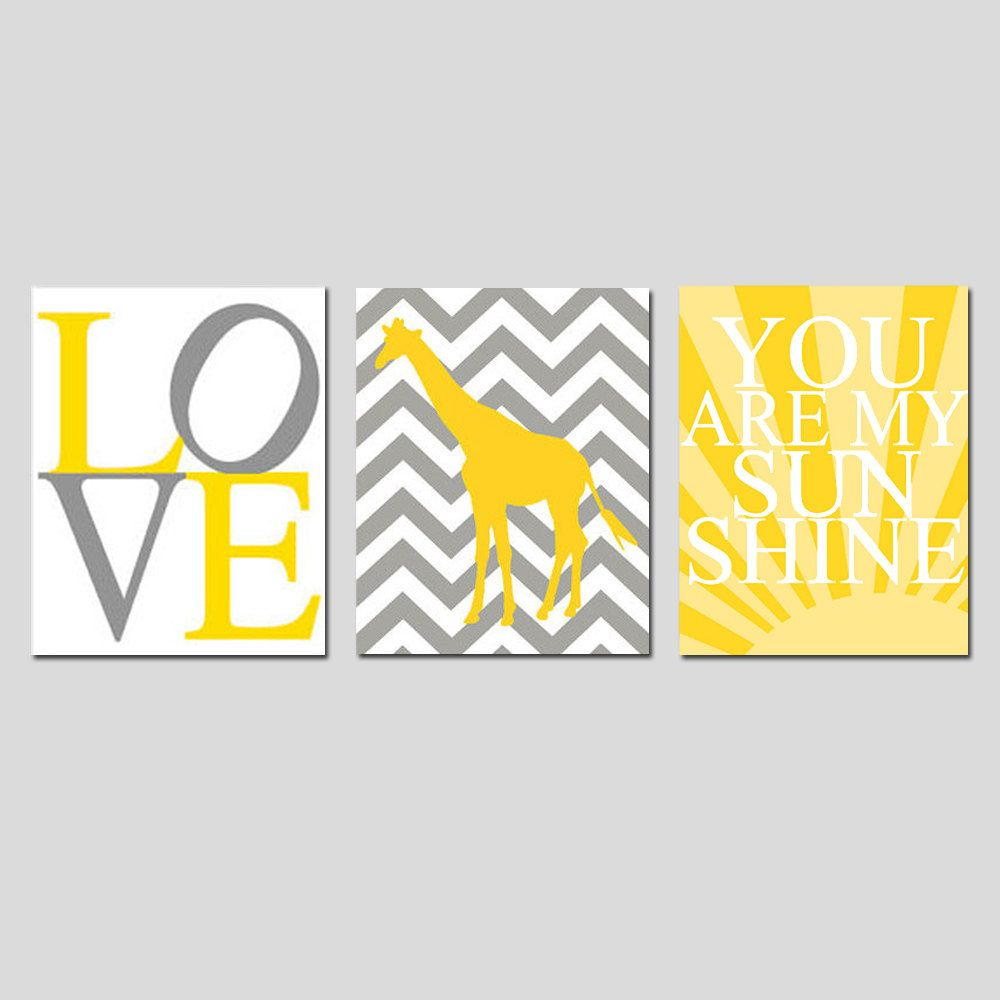 Modern Nursery Trio - Set of Three 8x10 Prints - You Are My Sunshine, LOVE Typography, Chevron Giraffe - Yellow, Gray, White, and More. $55.00, via Etsy.