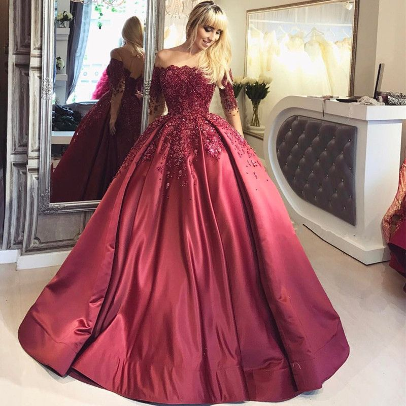 Ball Gown Long Sleeve Beaded Crystal Applique Watteau: New Burgundy Long Sleeves Quinceanera Dresses,Sheer Neck