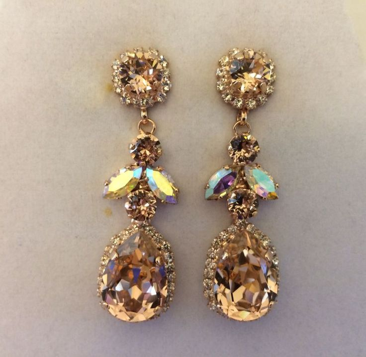 I Make These Sparkling Swarovski Rhinestone Earrings With A Combination Of Round Diamond Cut Navettes And Pear Shaped Crystal Rhinestones