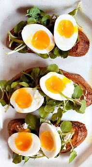 watercress, walnut ricotta, and egg.  source: http://www.nytimes.com/2012/04/04/dining/soft-boiled-eggs-with-walnut-ricotta-crostini-recipe.html?_r=1