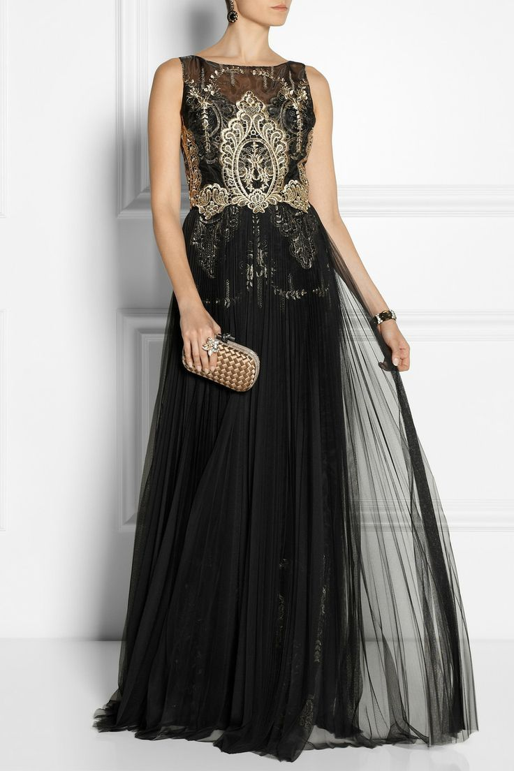 Notte by marchesa embroidered organza and tulle gown neta
