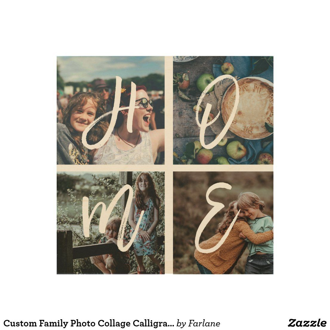 Custom Family Photo Collage Calligraphy HOME Wood Wall Decor | Zazzle.com #photowallcollage Custom Family Photo Collage Calligraphy HOME Wood Wall Decor #wallcollage