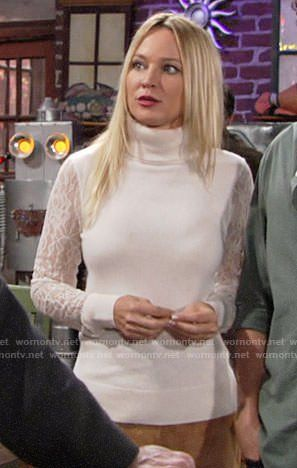 Sharon's lace-sleeve turtleneck sweater and suede skirt on The Young and the Restless.  Outfit Details: https://wornontv.net/83173/ #TheYoungandtheRestless
