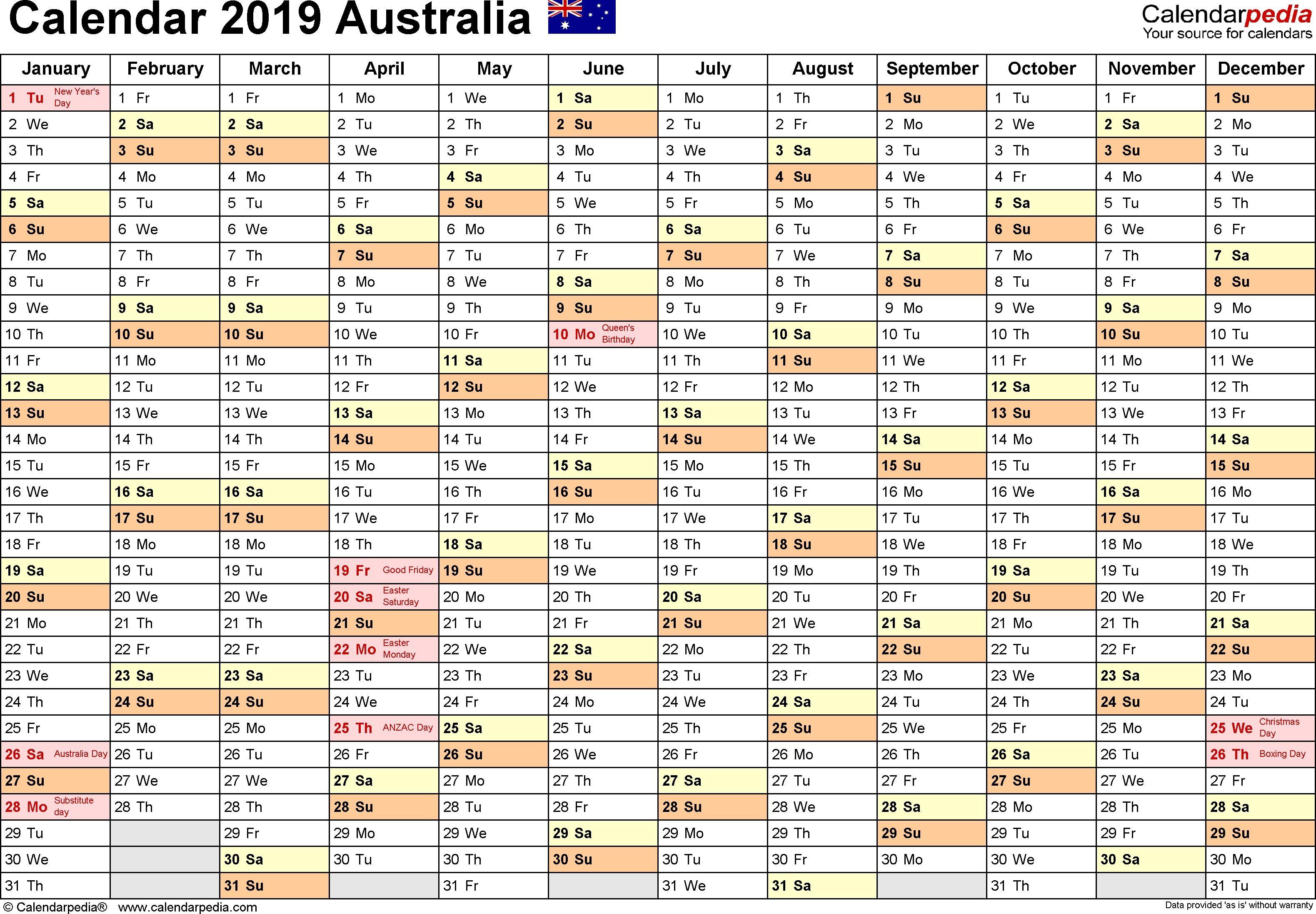 Australia Calendar 2019 Free Printable Excel Templates Catch Printable Calendar Template Free Printable Calendar Templates Calendar Printables