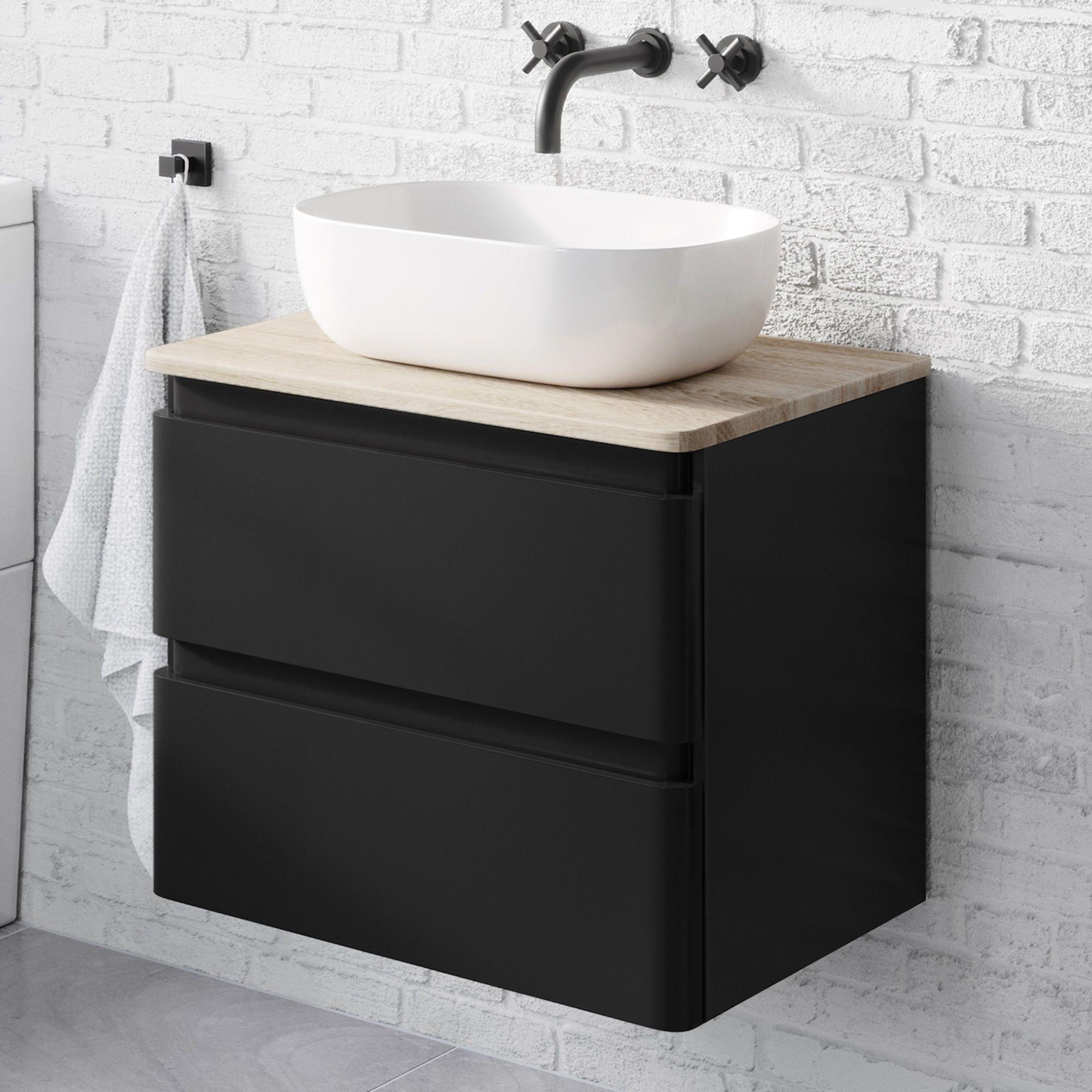Black Bathroom Wall Cabinet With Sink Black Vanity Unit Soak