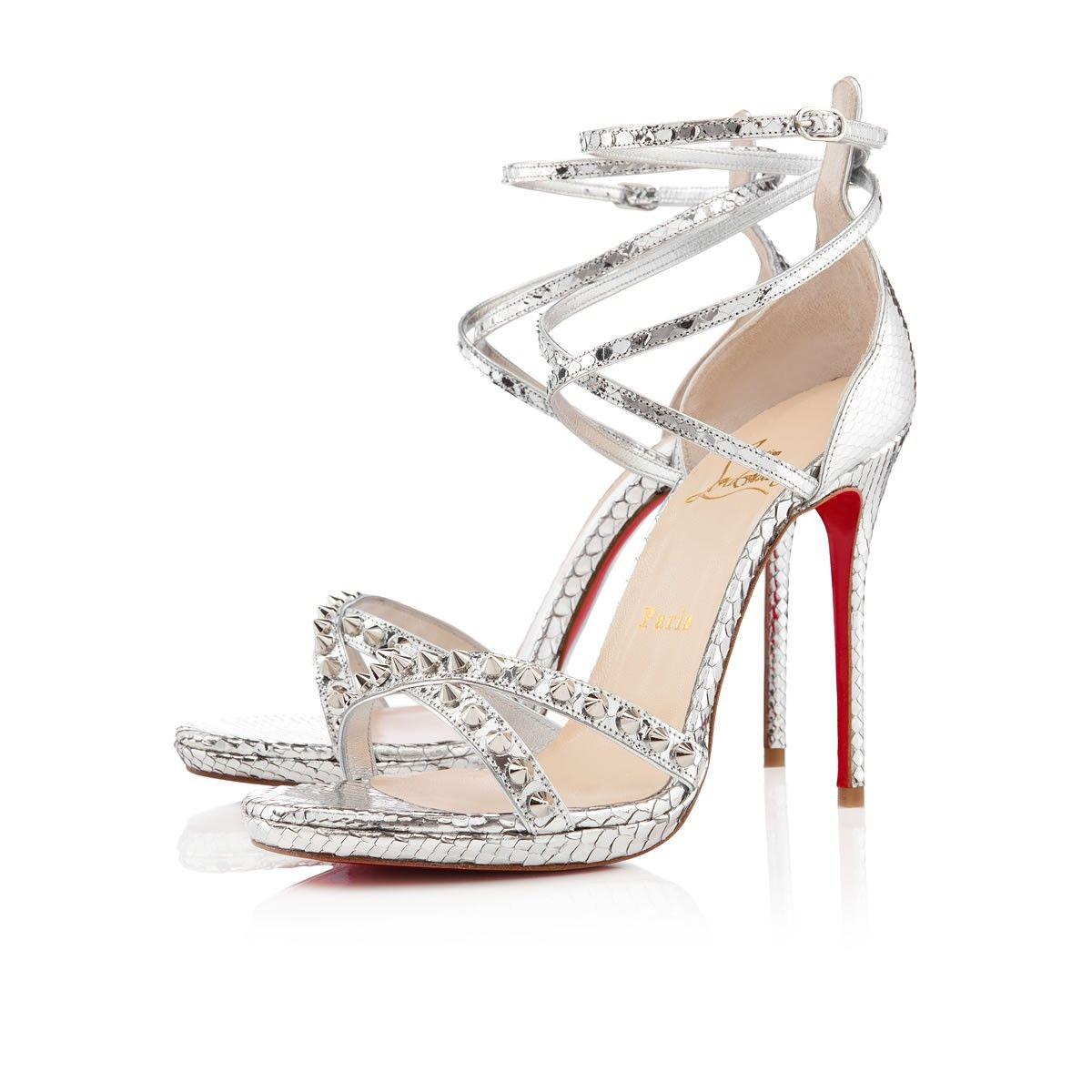 Christian Louboutin Womens monocronana 120mm silver python Sandals ... 245f6d22b