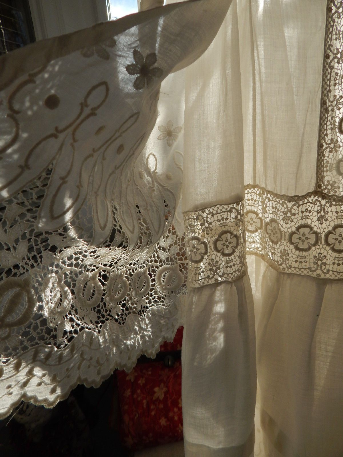 Gorgeous antique white edwardian lace gown interesting sewing