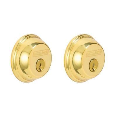 Schlage Bright Brass Double Cylinder Deadbolt B62n 505 605 Brass Schlage Locks Home Depot