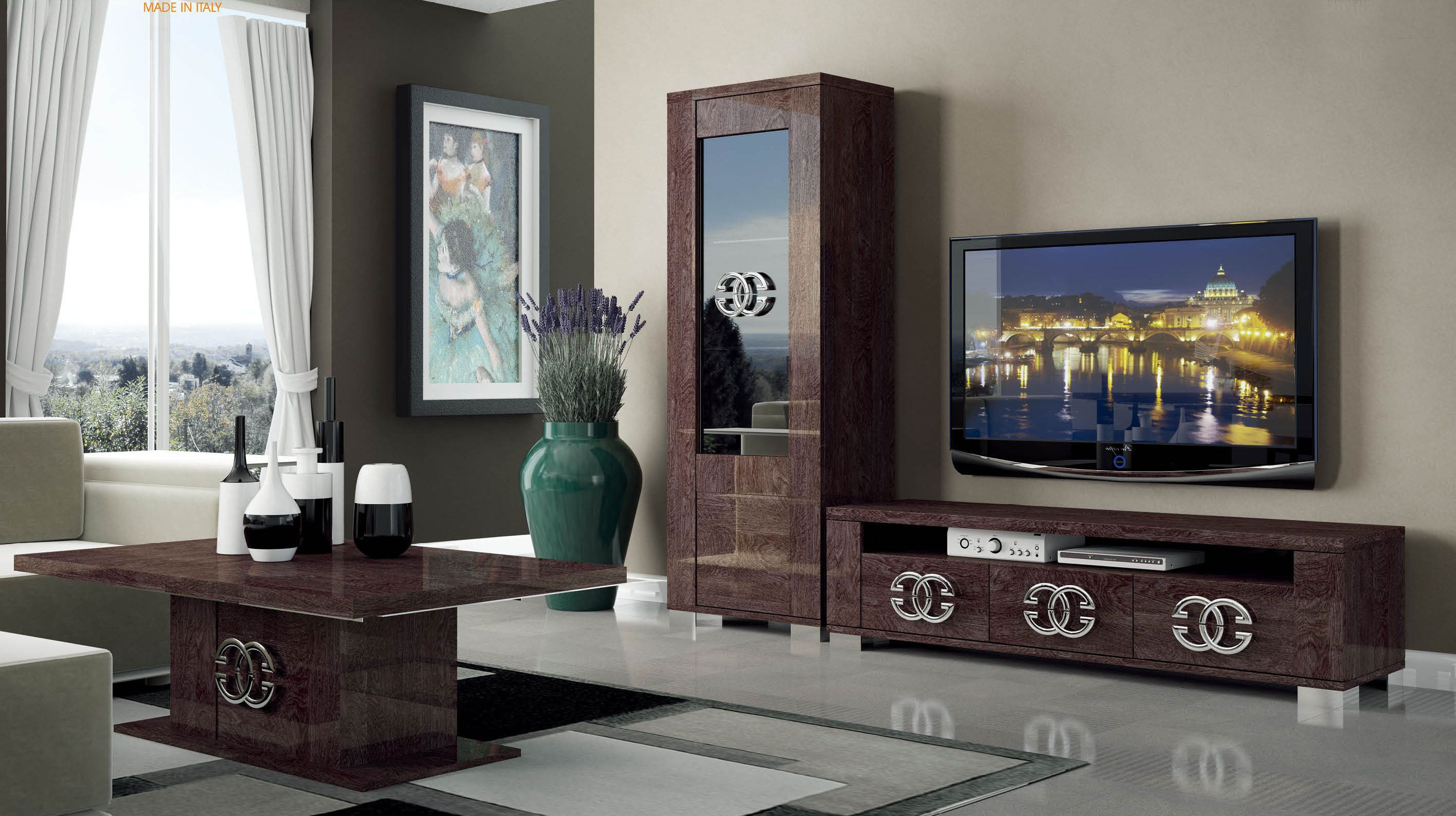 Dark Brown And Walnut Tv Stand With Side Vetrina Shelves Tuck Away Your Collection Of Entertainment Electronics Tv Stand Entertainment Center Tv Stand Shelves [ 1588 x 2832 Pixel ]