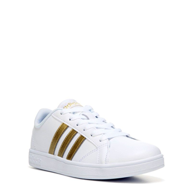 ce7cf4d3e00f3 Adidas Kids' Baseline Fashion Sneaker Pre/Grade School Shoes (White/Gold) -  11.0 M