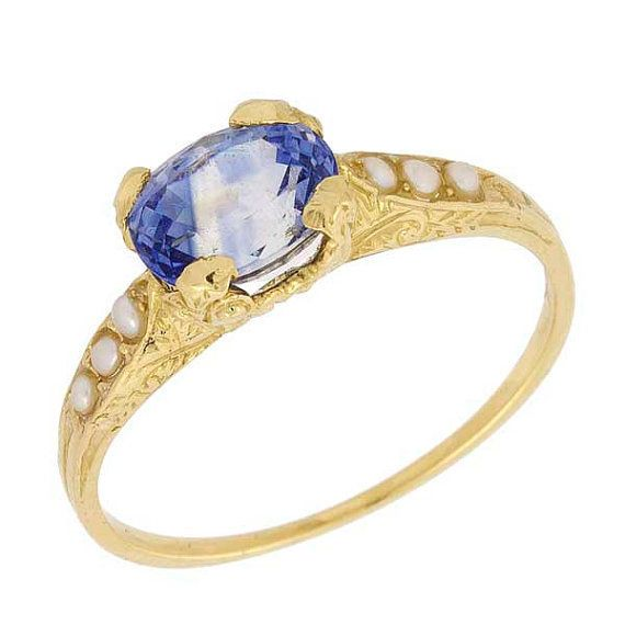 Art Deco Wheat Scrolls Blue Sapphire Pearl Engagement Ring 14k Yellow Gold from Neta Wolpe Jewelry