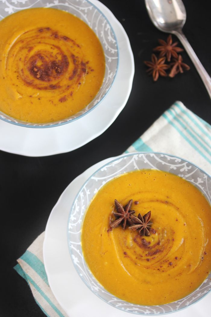 Roasted Butternut Squash Soup With Apple Cinnamon And