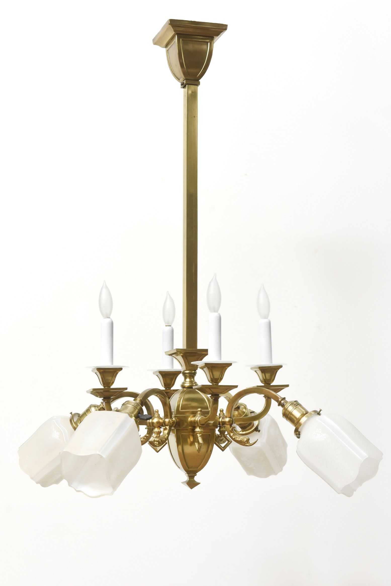 Gas and Electric Chandelier with Original Glass Candlecovers and