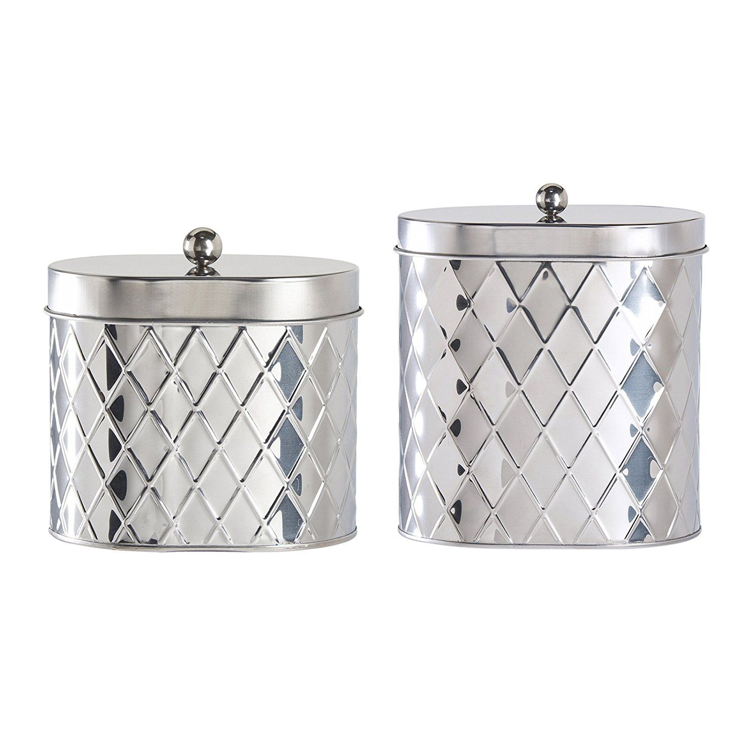Amici Seychelles Oval Metal Diamond Canister, Stainless Steel - Set of 2 *** Insider's special review you can't miss. Read more  : Wine Accessories