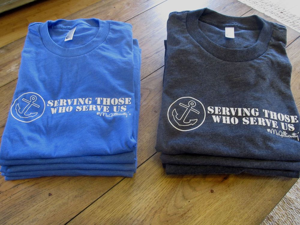 "re-stocked ""Serving Those Who Serve Us"" shirts $25"