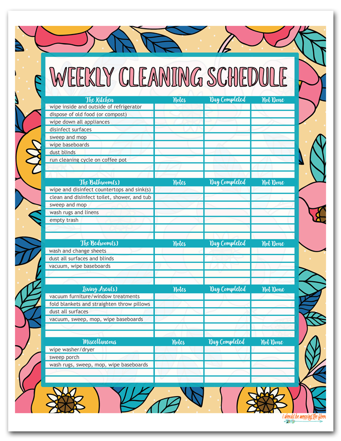 Free Printable House Cleaning Schedule Free Printable Cleaning Schedule Cleaning Schedule Printable Free Printable Cleaning