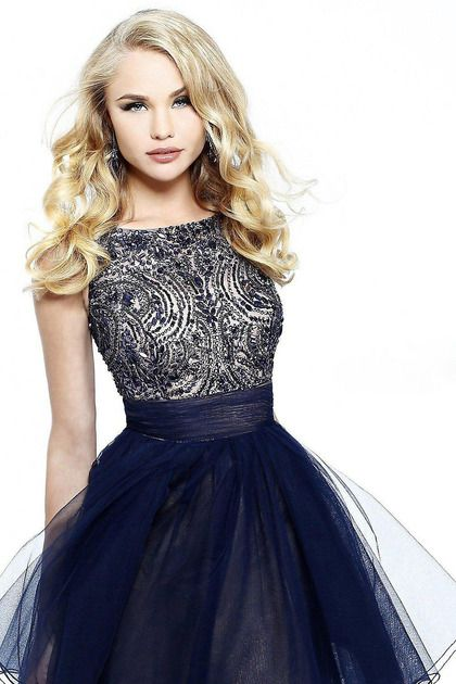 A-line Scoop Tulle Black Cocktail Dresses/Short Prom Dress With ...